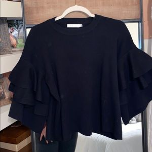 Black Sweater with Ruffle Sleeves
